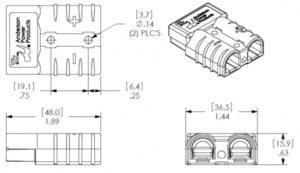 Разъем АКБ APP SB50 50A 600V Красный 24V 16 мм2